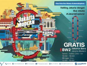 Bus wisata Transjakarta bus Jakarta Explorer 2 Jakarta Baru (Jakarta-Modern)